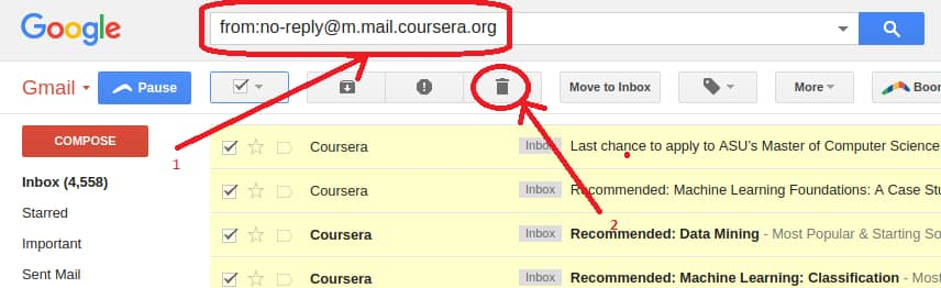 delete all mail in gmail from particular contact