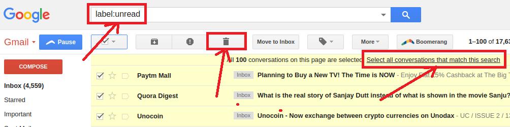 delete all unread mail in gmail