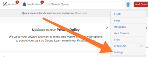 delete quora account in pc