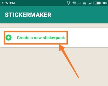 create new sticker pack option