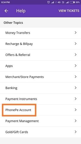 delete phonepe account permanently