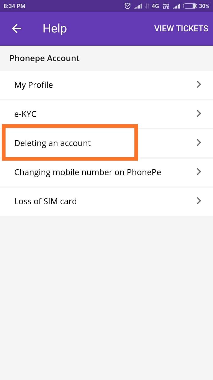 delete phonepe