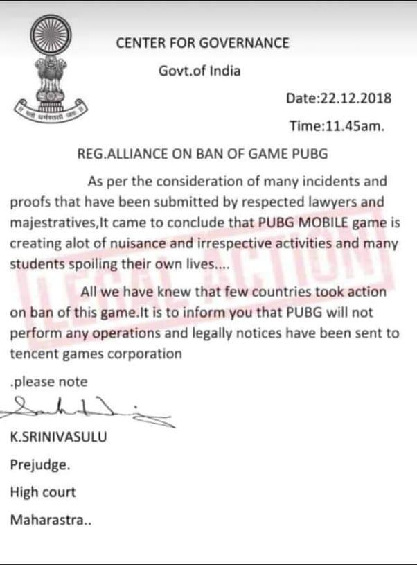 pubg ban notice india