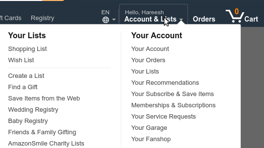 amazon site - all orders settings
